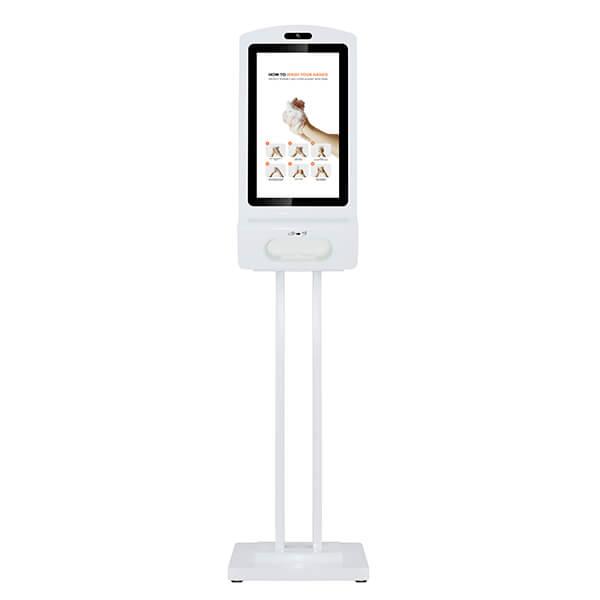 Digitaler Kiosk Mit Desinfektionsmittel - Vorderansicht, auf einem Ständer