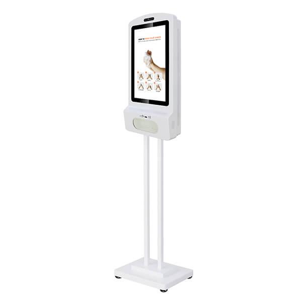 Digitaler Kiosk Mit Desinfektionsmittel - Linke Ansicht, auf einem Ständer