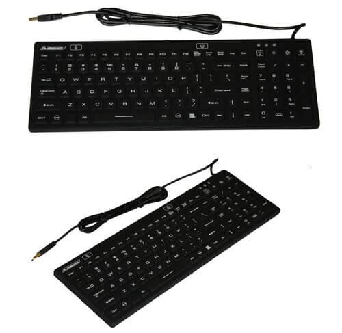 Wasserdicht beleuchtete Tastatur
