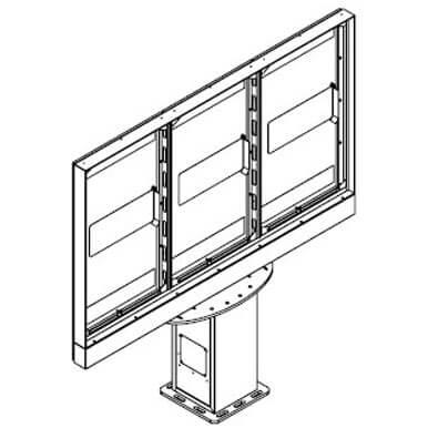 Triple-Display Stele für Aussenbereich
