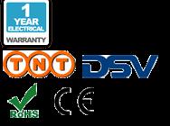 Ein Jahr Standardgarantie auf Elektrik; TNT Versand, DSV Versand, CE und RoHS Logo