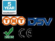 5 Jahres-Garantie, TNT Lieferservice, DSC Lieferservice, CE und RoHS Logos